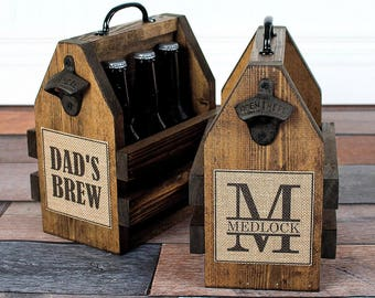 beer carrier, beer caddy , beer tote, wooden beer carrier, personalized bottle opener, beer drinker gift, bottle carrier, six pack