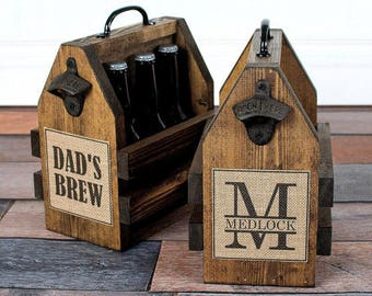 Monagram Beer Carrier - Dads Brew - Six Pack Carrier - Personalized Gift For Dad - Fathers Day Gift - Personalized Beer Carrier - Rustic