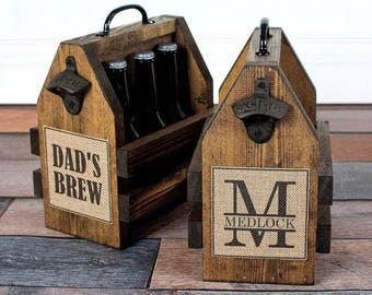 Rustic Beer Bottle Carrier - Personalized Beer Carrier - Six Pack Carrier - Personalized Bottle Opener - Beer Bottle Opener - Brew Carrier