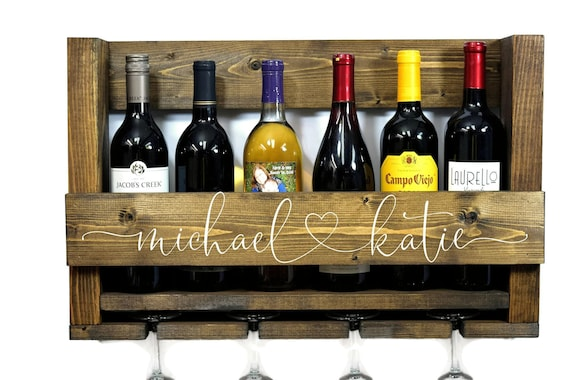 Wood 6 Bottle Wall Mounted Wine Rack L Wine Barrel L Etsy