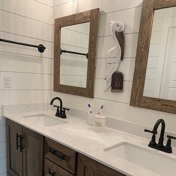 Mirrors Framed With Real Reclaimed Wood Rough Sawn Mirrors Etsy