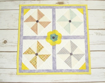 Spring Quilted Table Square - Table Topper - Spring Quilt Candle Mat - Quilted Table Runner - Mothers Day Gift