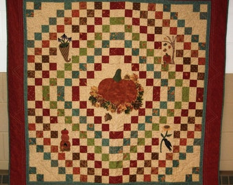 Fall Wall Quilt Large - Fall Lap Quilt - Patchwork Quilt - Harvest Blessings Quilt- Thanksgiving Quilt - Autumn decor Quilt - Handmade Quilt