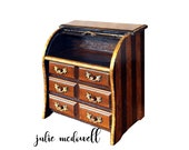 Hand painted jewelry box for her valet for him roll top desk Solid wood refinished OOAK trinket box collectable box