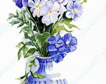 Digital download, original artwork, printable art, white and blue art, limited edition, image transfer, unique transfer, floral digital