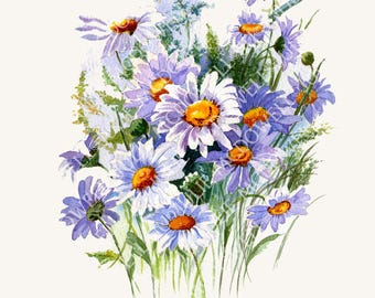 Digital download, original artwork, printable art, white daisies art, limited edition, image transfer, unique transfer, floral digital