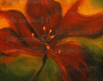 Digital download, original artwork, printable art, red and gold art, limited edition, image transfer, unique transfer, floral digital