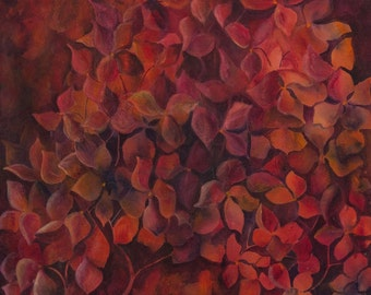 Red flower art Large red painting Abstract red art Red flower painting Red wall art Crimson Ruby Bedroom Designer Fall colours Autumn Fine