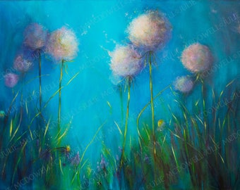 Digital download, original artwork, printable art, blue and white art, limited edition, image transfer, unique transfer, floral image