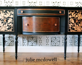 Antique buffet, vintage Sideboard, restored,Black and copper leaf, hand decorated, unique, one of a kind, statement furniture, usable art