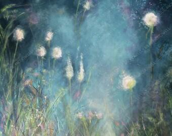 Digital download, original artwork, printable art, blue and white art, limited edition, image transfer, unique transfer, floral digital