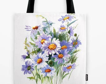 blue floral tote, book bag, original art tote, daisy book bag, Unique tote bag, Girl's school bag,  Laptop tote, gift for her Designer tote