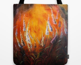 Gold, orange and white tote bag Book tote bag Artwork tote Floral tote Unique Gift for her Girl's school bag Laptop  gold Bright Floral