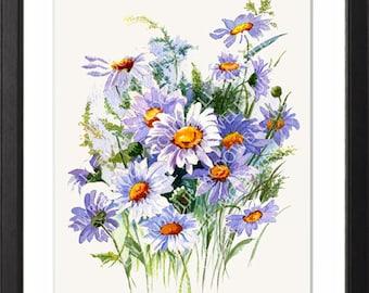 wall art, White floral art Daisies painting, white art print, ready to frame, flower art, Foyer art, From original watercolour, Flower art