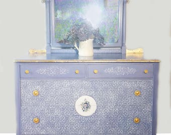 Dressing table with mirror, vanity with mirror, lavender blue, Solid Wood, hand painted,  gold leaf, bedroom Furniture, girl's bedroom,