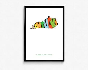 Kentucky Typography Map, Kentucky Printable, Kentucky Poster, Kentucky Print Art, Print Art, Typography, Map Poster, Digital Print