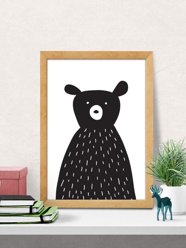 Bear Print Nursery Wall Art Modern Nursery Decor Nursery Etsy