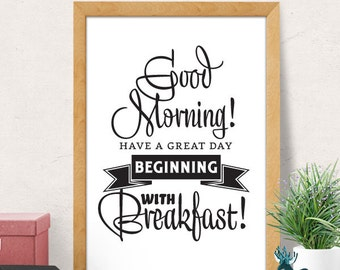 Breakfast print, Kitchen wall Decor, Food Kitchen Art, Art for Kitchen, Kitchen wall Art, Black and White, Kitchen Quote, Foodie Gift
