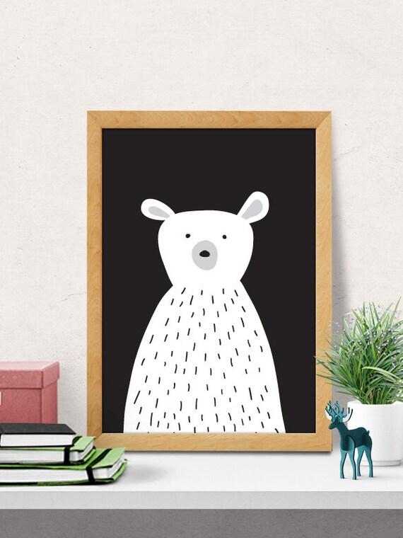 Bear print Nursery wall art Modern Nursery decor cute | Etsy