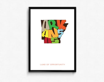 Arkansas Typography Map, Arkansas Printable, Arkansas Poster, Arkansas Print, State Art Print, Typography Map Poster, Digital Prints