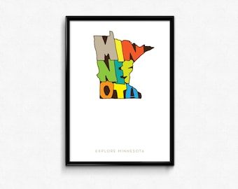 Minnesota Typography Map, Minnesota, Minnesota Poster, Minnesota Print Art, Minnesota Map Poster, Digital Print, Cool Print Art, Poster