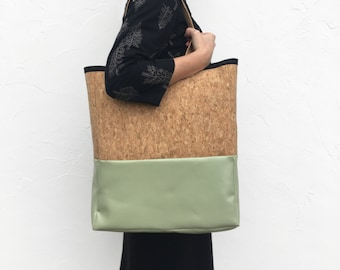 Pb_bag, leather bag in mint and cork color, handmade, tote bag
