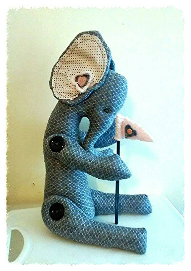 Fabric elephant character figure art doll collectors piece.