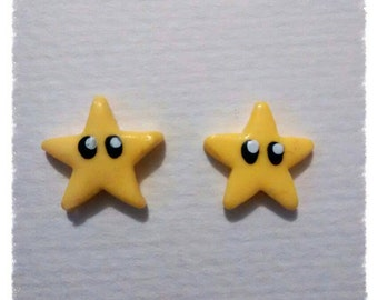Polymer clay small Nintendo Mario stars stud earrings gamers earrings games console character earrings.
