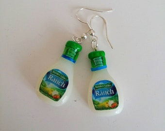 Real silver stamped 925 Pair of polymer clay miniature earrings. Ranch sauce miniature food jewellery
