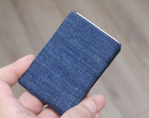 Best men gift, Vegan Wallet made from washed denim, Minimalist Wallet, RFID Wallet, Denim Wallet, Mens Wallet, Womens Wallet