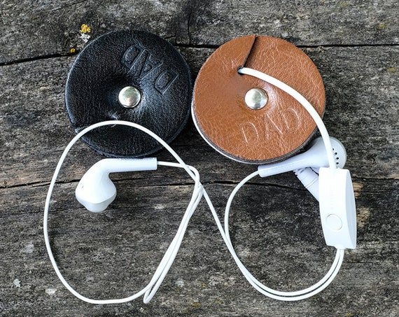 Personalized Leather Cable Organizer, Organizer, Earphone Holder, Headphone Holder, Leather Cord Holder, Cord Keeper, iPhone Cord Wrap