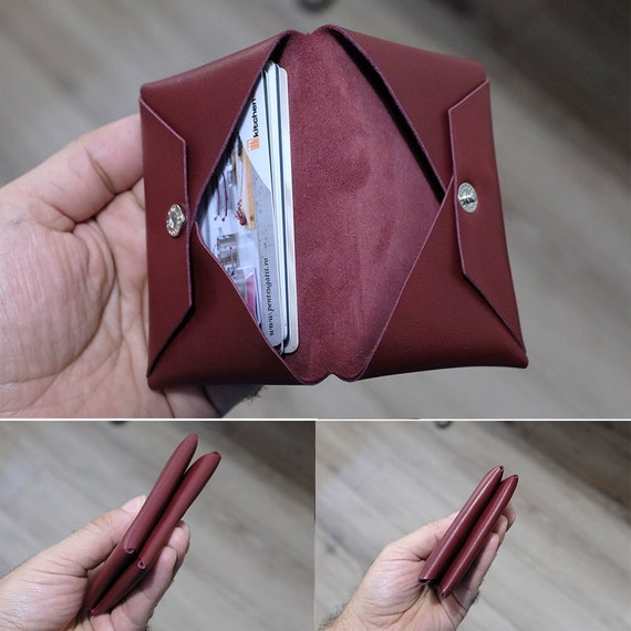 Minimalist Bifold Wallet, Personalized Leather Wallet, Ultra Slim Wallet, Womens Wallet, Ultra Soft Goat Leather Wallet, Minimalist Wallet