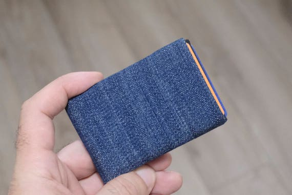 Vegan Wallet made from washed denim, Minimalist Wallet, Card Wallet, RFID Wallet, Denim Wallet, Mens Wallet, Womens Wallet