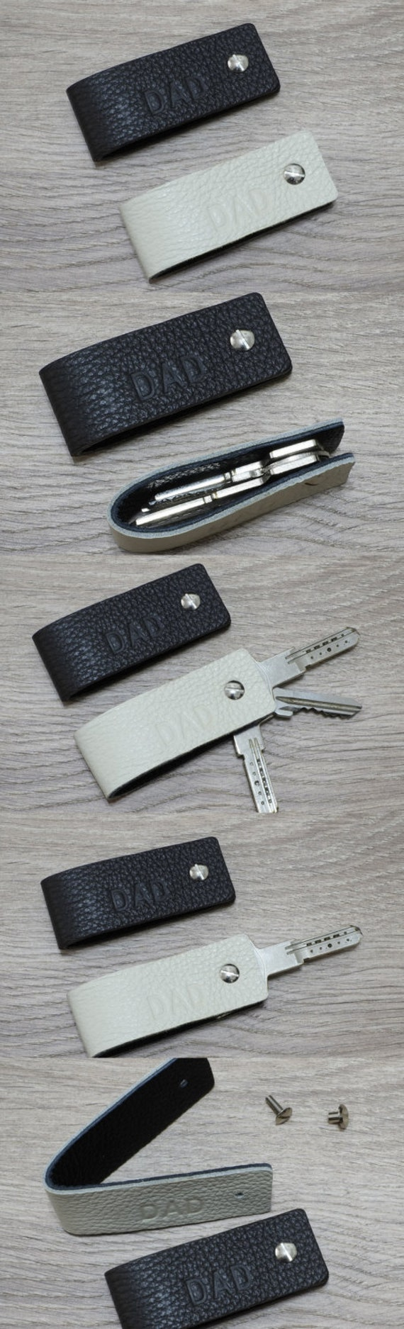 Slim Key Holder Leather Keychain - Double Face & Reversible Colors -  Minimalist Key Case Holder, Gift for Mens and Womens