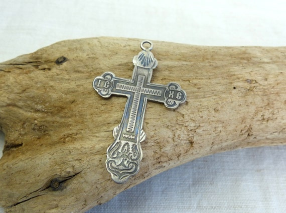 Antique 84 Silver Russian Orthodox Cross Pendant Sterling Etsy