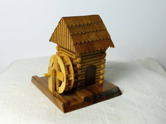 Miniature Wood House / Vintage Fairy House / Gnome House / Doll House  Accessories Vintage Mini Cottage / Craft Project Supplies / miniatures