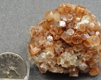 Clear to orange Aragonite crystal Cluster, Morocco, Mineral Specimen for Sale
