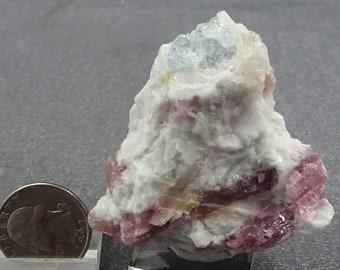 Rubellite Tourmaline crystals on Albite with Aquamarine, Brazil - Mineral Specimen for Sale