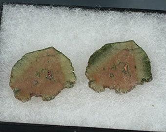 Matched pair polished Liddicoatite Tourmaline slices, Madagascar, Mineral Specimen for Sale