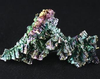 Bismuth, iridescent laboratory-grown crystals, Mineral Specimen for Sale