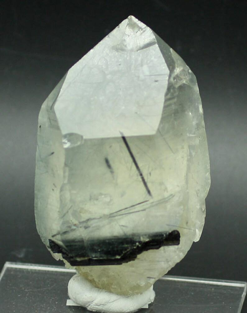 Indicolite Tourmaline-included Quartz Brazil  Mineral image 0