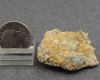 Gem Baby Blue Barite Crystals on Calcite, Colorado - Mineral Specimen for Sale