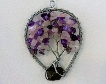 Amethyst, rose quartz necklace, Wire Tree of Life Bonsai Pendant, Twisted  Jewelry, wire wrap pendant