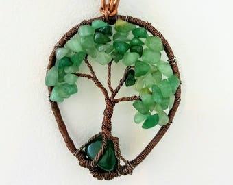 Nephrite jade necklace, Wire Tree of Life, Bonsai Pendant, stone wire jewelry, Twisted gemstone