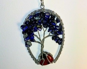 Lapis lazuli necklace, Wire Wrapped Tree of Life Bonsai Pendant, Copper Twisted Jewelry