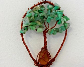 Amazonite necklace with an amber, Wire Wrapped Tree of Life Bonsai Pendant, Copper Twisted Jewelry