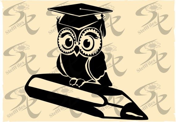 Vector OWL GRADUATION HAT bird,Silhouette,svg,dxf,ai, png, eps, jpg,  Download files, Digital, graphical