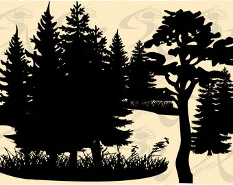 FOREST Vector forest trees Christmas tree,SVG,DXF,ai, png, eps, jpg Silhouette Download files, Digital, graphical,0271