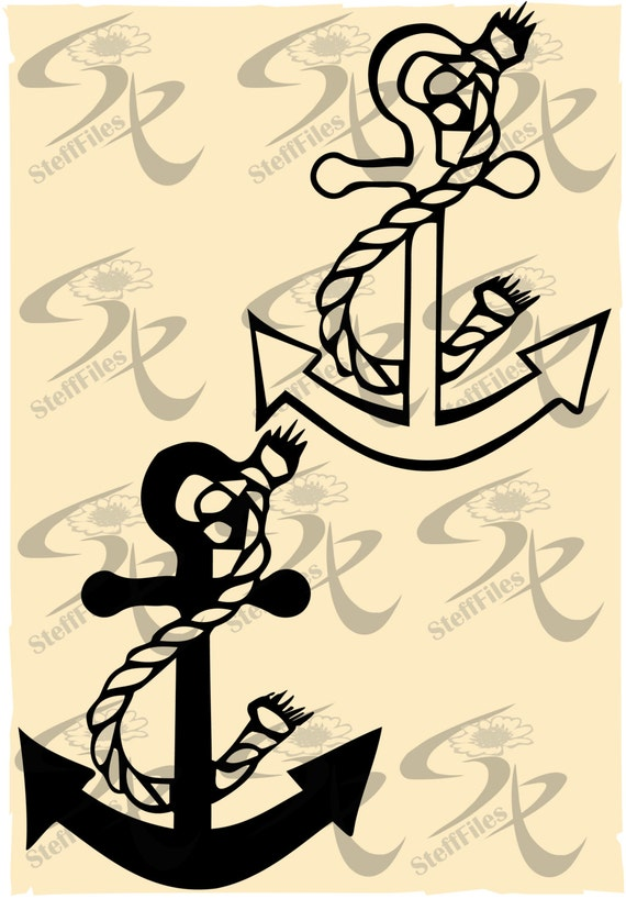 Vector Anchor Rope Nautical Ropesvgdxfai Png Eps Etsy