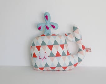 Plush Toy whale shades grey blue Fuchsia pink patterned graphics Argyle Scandinavian style